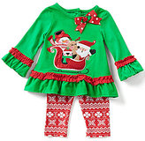 Rare Editions Baby Girls 3-24 Months Christmas Santa Sleigh Top & Leggings Set