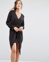 Parallel Lines Tie Front Long Sleeve Dress In Pinstripe