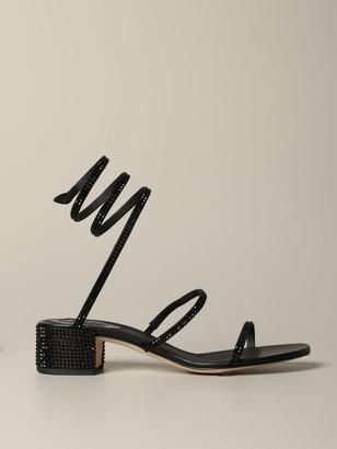 Rene Caovilla Heeled Sandals Snake Sandal With Rhinestones