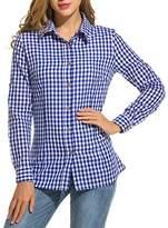 Zeagoo Women's V-Neck Long Sleeve Loose Casual Button Down Plaids Shirt Blouses