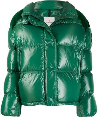 Moncler Chouette padded velvet-patch jacket