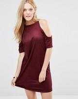 AX Paris Cold Shoulder Dress In Suedette