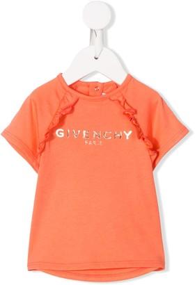 Givenchy Kids short sleeve ruffled trim logo T-shirt