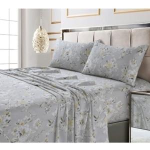 Tribeca Living Colmar Printed 300 Thread Count Cotton Sateen Extra Deep Pocket Sheet Set King Sheet Set Bedding
