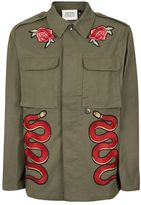Topman FINDS Khaki and Red Snake Patch Jacket