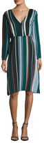 Veda Scale Silk Striped Flare Dress