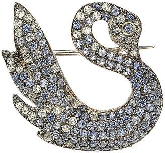 Suzy Levian Diamonds Suzy Levian 18K & Silver 1.52 Ct. Tw. Sapphire Swan Brooch