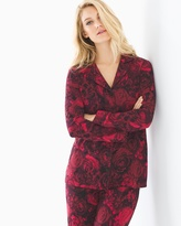 Soma Intimates Long Sleeve Notch Collar Pajama Top Noble Rose Ruby
