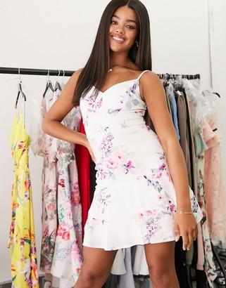 Lipsy linen mini dress in white floral print