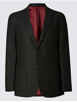 M&s Collection Luxury Pure New Wool 2 Button Herringbone Jacket