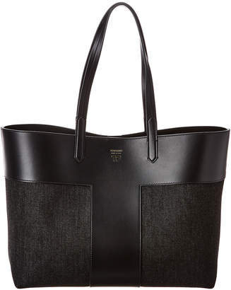 Tom Ford East/West Graphic T Denim & Leather Tote