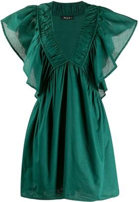Mes Demoiselles ruffled-sleeves V-neck dress