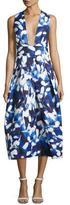 Milly Elisa Pleated Floral Faille Midi Dress, Blue