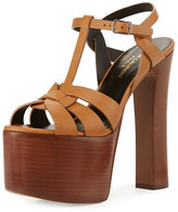 Saint Laurent Betty Tribute Mega-Platform Sandal, Caramel