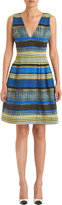 Prabal Gurung Abstract Dots and Stripes Sleeveless Dress