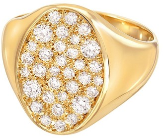 Dru Galaxy Diamond Pave Yellow Gold Signet Ring