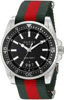 Gucci Men's YA136206 Dive Stainless Steel Watch with Striped Nylon Band