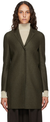 Harris Wharf London Green Pressed Wool Cocoon Coat