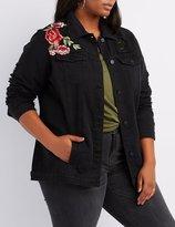 Charlotte Russe Plus Size Embroidered Destroyed Denim Jacket