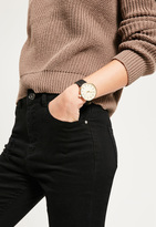 Missguided Gold Large Face Contrast Strap Watch