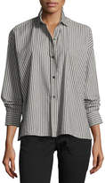Vince Striped Boxy Button-Front Cotton Shirt