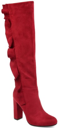 Journee Collection Women's Vivian Ruffled Knee-High Boots