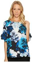 CeCe Tiered Ruffle Sleeve Stately Bouquet Blouse