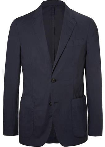 Ermenegildo Zegna Navy Stretch-Cotton Poplin Suit Jacket