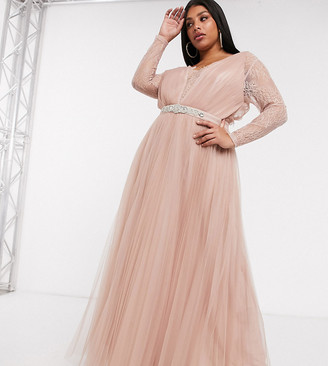 Asos DESIGN Curve lace sleeve tulle maxi dress with embellished trim