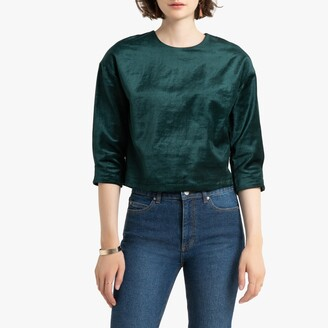 La Redoute Collections Cropped Velvet Top with Zipped Back