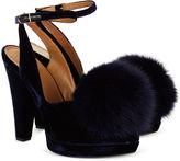 Sonia Rykiel Navy Velvet Fur Pom Pom Heels