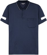 Lanvin Blue Reflective-appliqué Cotton Polo Shirt