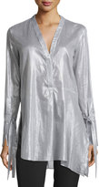 Halston Long-Sleeve V-Neck Striped Asymmetric Tunic, Gray/White Stripe