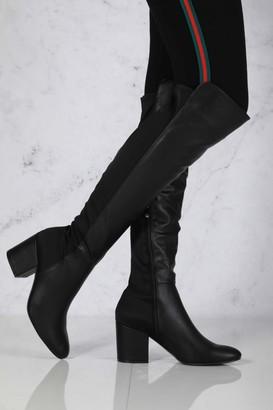 Miss Diva Ivy Blockheel Over Knee Boot in Black Matt
