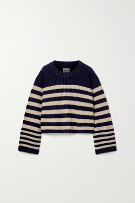 KHAITE Dotty Cropped Striped Cashmere Sweater - Navy
