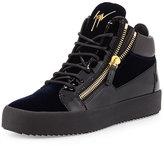 Giuseppe Zanotti Men's Velvet & Patent Leather Mid-Top Sneaker