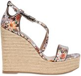 Tabitha Simmons 130mm Floral Printed Silk Satin Wedges