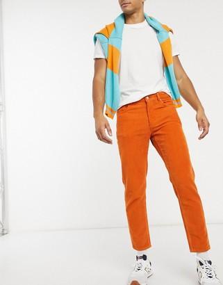 ASOS DESIGN classic rigid corduroy jeans in dark orange