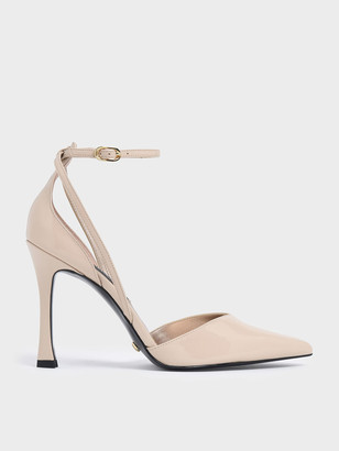 Charles & Keith V-Cut Patent Leather Ankle Strap Heels