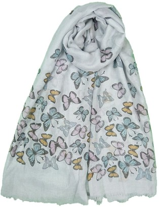 Claudia&Jason Claudia & JasonNew Design New Look Lady Womens Colorful Butterfly Print Scarf Wraps Shawl Soft Scarves (grey)