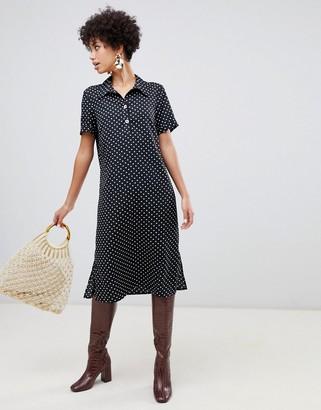 Vero Moda spot midi shirt dress