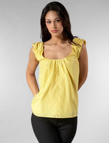 Pleated Puff Sleeve Blouse in Canary Yellow