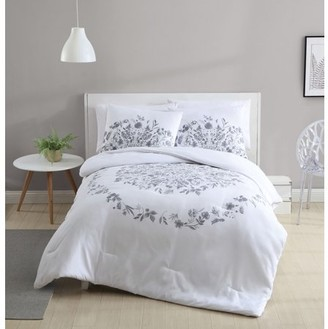 VCNY Home Lauren Black and White Floral Duvet Cover Set
