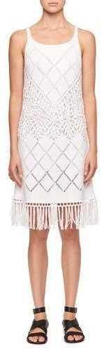 Chloé Sleeveless Scoop-Neck Crochet-Knit Dress with Fringe-Hem