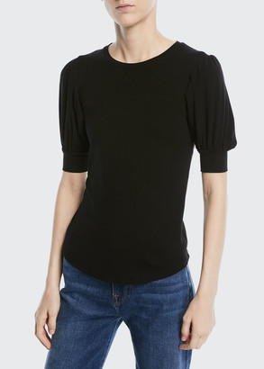 Frame Crewneck Balloon-Sleeve Tee