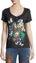 Roberto Cavalli Scoop-Neck Butterfly-Print Cotton T-Shirt