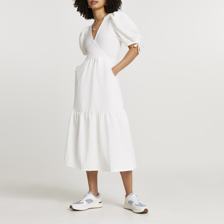 Thumbnail for your product : River Island Womens White textured puff sleeve wrap midi dress