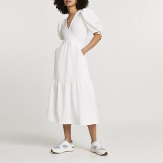 River Island Womens White textured puff sleeve wrap midi dress