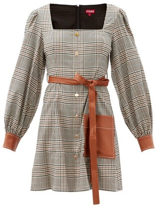 STAUD Oz Square-neck Checked Twill Mini Dress - Beige Multi