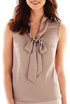 JCPenney 9 & Co.® Solid Tie-Neck Blouse
